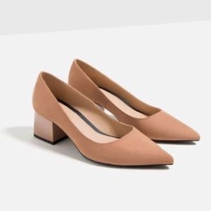 Zara TRF Block Heeled Shoes Size 35